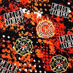 Fire Dept Red Orange Black