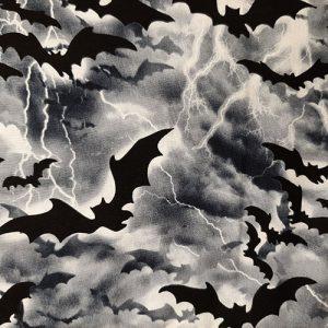 October Bat Sky Black White Halloween
