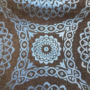 Silver Tapestry On Brown Linen